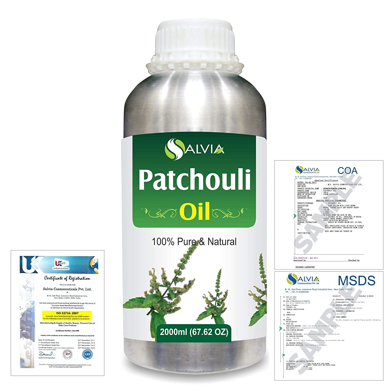 サーバント畝間ありそうPatchouli (Pogostemon cablin) 100% Natural Pure Essential Oil 2000ml/67 fl.oz.