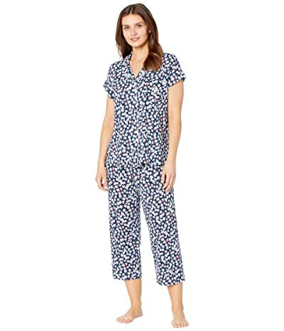 LAUREN Ralph Lauren Classic Knits Dolman Sleeve Notch Collar Capris Pajama Set (Navy Print) Women