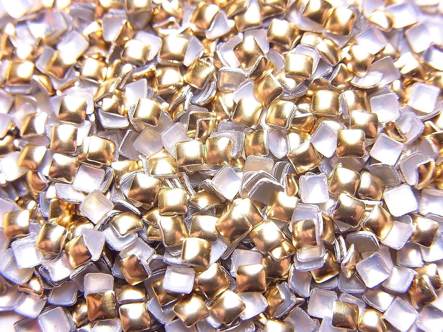 傾いた高齢者キャプテンブライ【jewel】スクエア型(正方形)メタルスタッズ 2mm ゴールド 約100粒入り