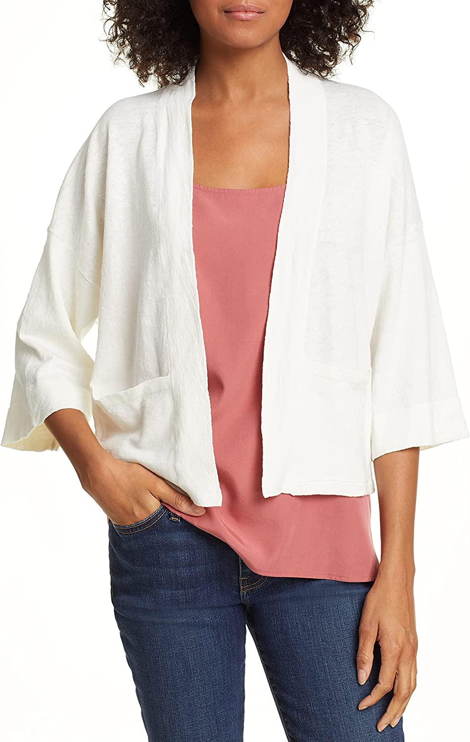 Eileen Fisher Short Boxy Cardigan, Organic Linen Crepe Stretch, Open Front, Cropped Length