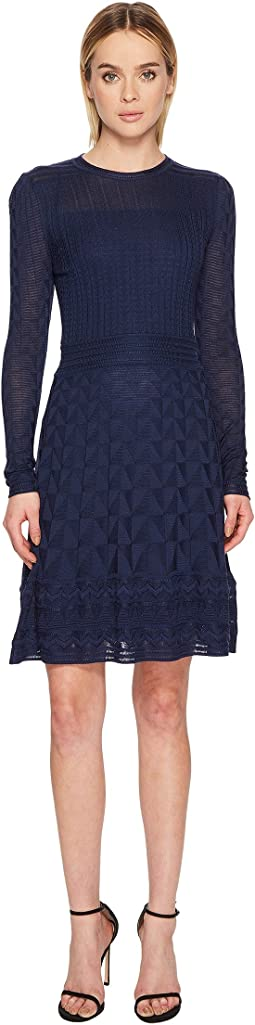 M Missoni - Solid Knit Long Sleeve Dress
