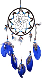 Dream Catcher in Blue, Black and Brown - Handmade Boho Mobile Decorations, Dream Catchers for Home, Bedroom, Kids, Boys