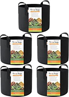 HONEST OUTFITTERS 5-Pack 10 Gallon Smart Grow Bags for Potato/Plant Container/Aeration Fabric Pots with Handles (Black)