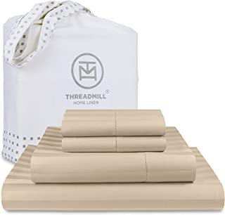 """Threadmill 500 Thread Count Queen Size Damask Stripe, 4 Piece Cotton Bedding Set, Silky Smooth Light Beige Sheets with 16""""..."""
