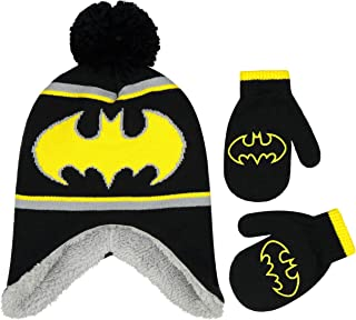 DC Comics Boys Winter Hat Set, Batman Toddler Beanie and Mitten for Kids Age 2-4, Black/Grey, One Size