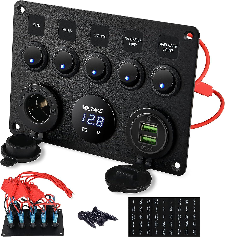 Kohree Panel de Interruptor de Cargador de Coche Basculantes a Prueba de Agua 12V/24V Doble Cargador USB voltímetro LED Interruptor zócalo de Cigarrillos 5 Pandillas Enchufe 5V 2.1A