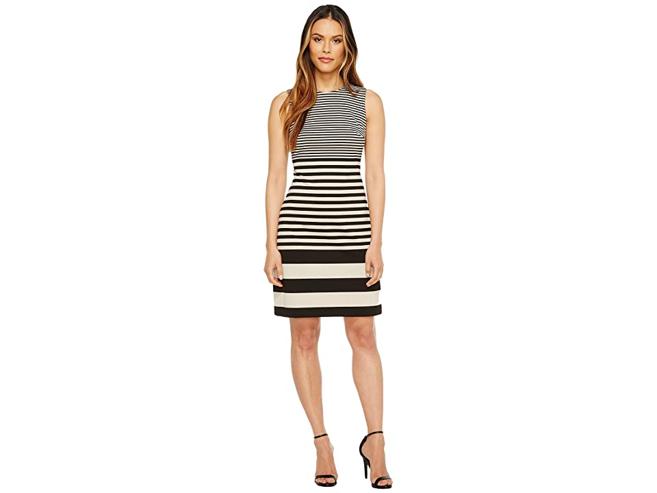 Calvin Klein Sleeveless Stripe Sheath Dress (Latte Combo/Black) Women