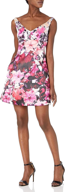 Adrianna Papell Women's Slim Deep V-Neck Mikado Cocktail Dress