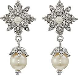 Crystal Glass Pearl Drop Earrings