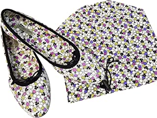 Women's Floral Green/Purple/Black Leather Ballet Flats 430525