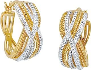18K Yellow Gold Genuine Diamond Accent Two Tone Braided Hoop Earrings (22mm)