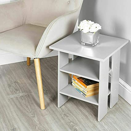 Nightstand Lamp Desk for Bedroom,White LANKOU Bedside Table with Drawer