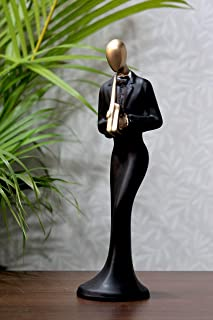 Craft Junction Handpainted Human Playing Clarinet Male Statue - Ideal for Home Interior Decorative Showpiece Figurine, Mul...