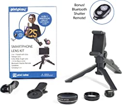 Pixlplay - 6 in 1 Smartphone Camera Lens Kit for iPhone & Android Cell Phone with Tripod/Grip, Bluetooth Shutter Remote, 3 x Lenses (Fisheye + Wide Angle + Macro) & Accessory Case