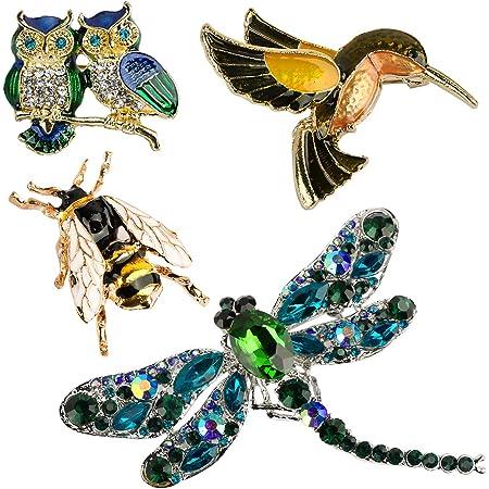 BHGT 4 Broches para Ropa Mujer Clips Alfileres Pin de Cristal de Moda Animales Insectos Lechuza Libélula Abejas Colibrí