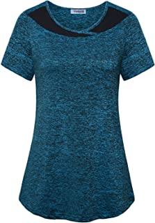 Vindery Athletic Shirt Women 2X Workout Short Sleeve Loose Fit Gym Active Tees Round Neck T Shirts Curved Hem Running Shir...