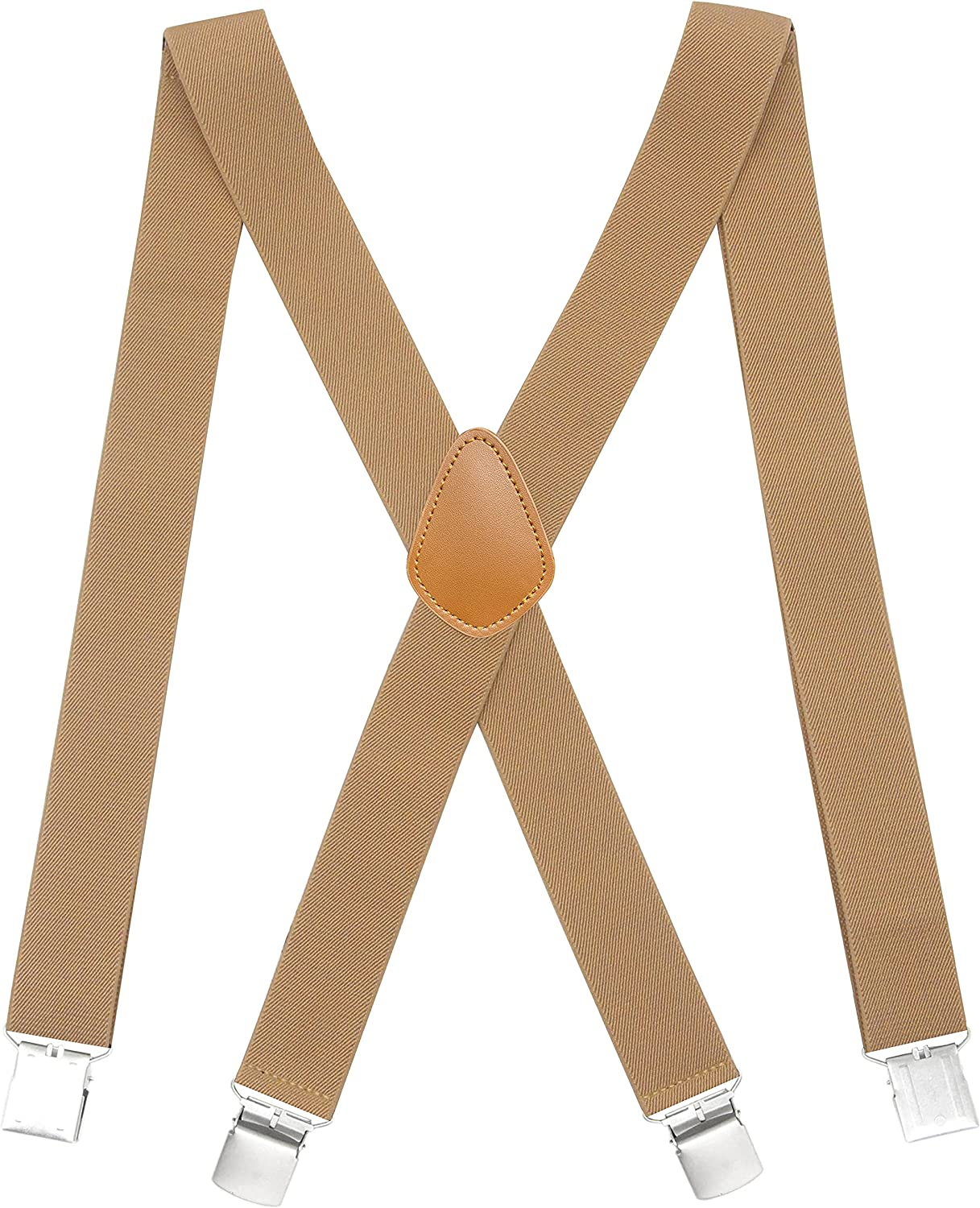 Cedrainy Men's Suspenders X Back With 1.4 Inchs Wide Elastic Braces & Heavy Duty Clip