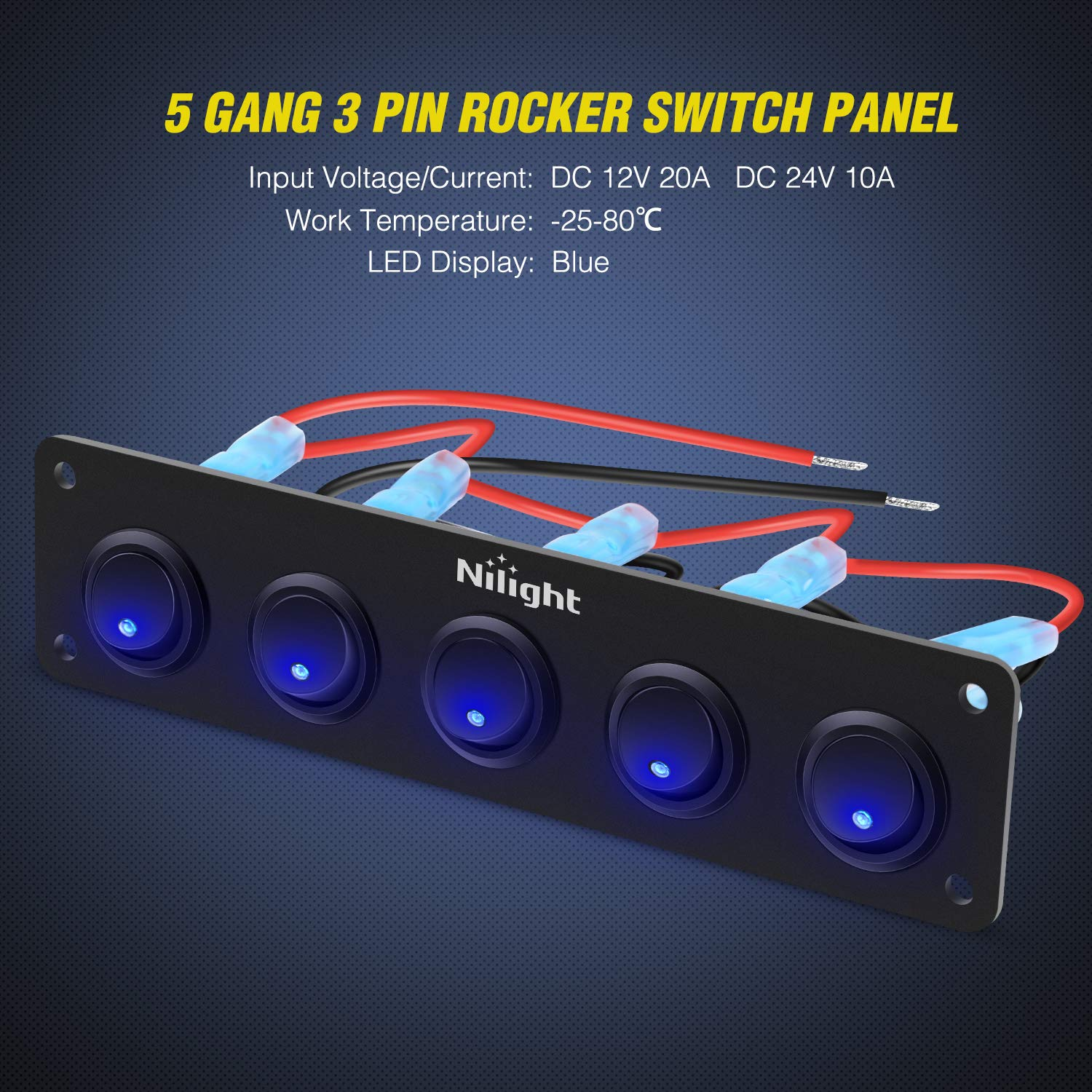 Nilight 5 Gang 3 Pin Rocker Switch Panel Waterproof On-Off Toggle Switches for Car Vehicle Trailer Truck SUV Marine Boat RV Ship 12V/24V 20A,2 Years Warranty