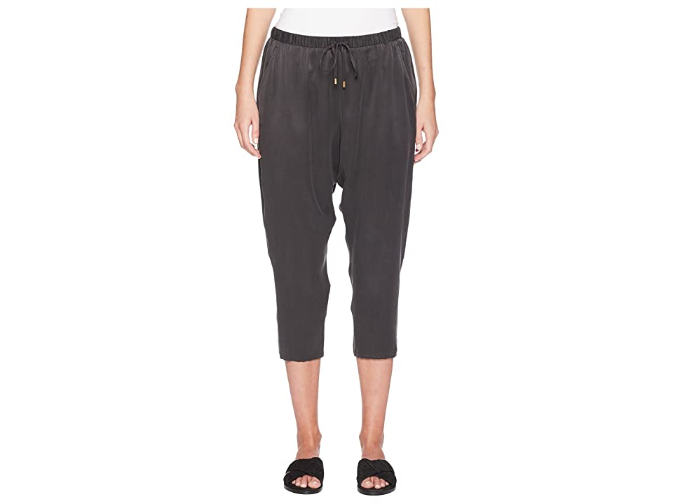 Eileen Fisher Silk Charmeuse Slouchy Cropped Pant (Graphite) Women