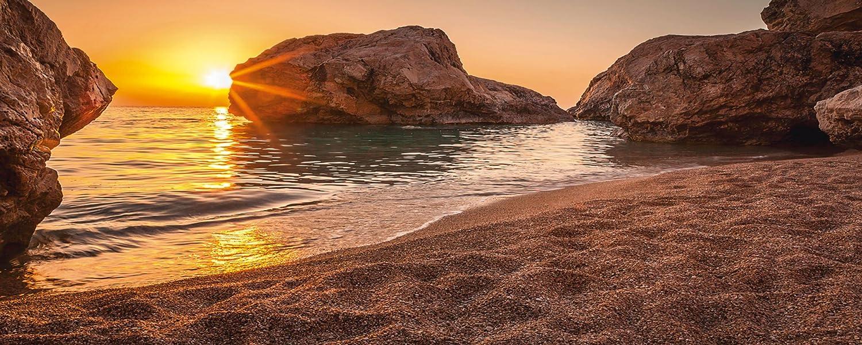 Artland Qualittsbilder I Glasbilder Deko Glas Bilder 125 x 50 cm Landschaften Strand Foto Creme D8QW Sonnenuntergang und Strand