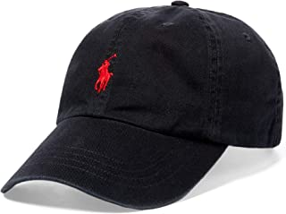Polo Ralph Lauren Hat, Core Classic Sport Mens Cap,Black/Red Pony, One Size
