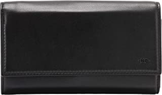 Nuvola Pelle Leather Wallet for Women Large Capacity Multi Compartment with Coin Pocket and Card Slots Black