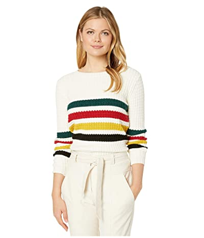 Pendleton Glacier Stripe Merino Sweater (Antique White Multi) Women