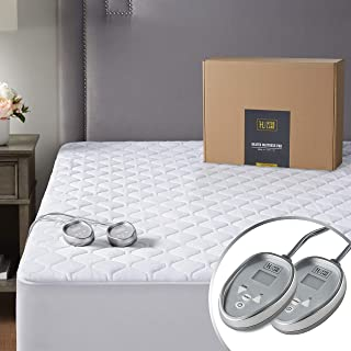 Premium Electric Heated Mattress Pad King Size Dual Control   Quilted Cotton Top Bed Warmer with 20 Heat Setting & Auto Shut Off  Relieve Sore Muscles/Joints