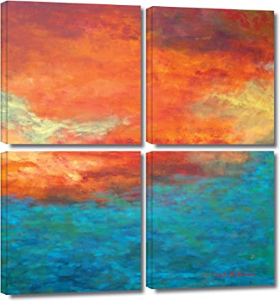 ArtWall Herb Dickinson 'Lake Reflections II' 4-Piece Gallery Wrapped Canvas Artwork, 48 by 48-Inch