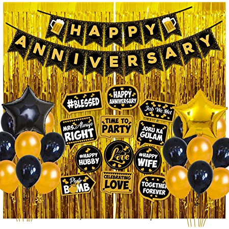 Party Propz Happy Anniversary Decoration Items - 42Pcs Kit Combo for Home Or Bedroom - Anniversary Banner, Metallic & Foil Balloons, Golden Foil Curtains - Marriage Decorations Set - Husband Or Wife
