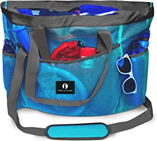 Red Suricata Large Mesh Beach Bag - Mesh Beach Tote Bag with Pockets - Beach Bags and Totes for Women with Zipper & 7 Large Elastic Pockets for Beach Accessories & Beach Toys (Celeste Blue/Grey)