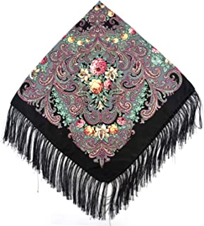 Fashion Women Cotton Square Wrap Scarf Shawl Russian Lady Gift Tassel Winter Floral Solid Foulard Scarves