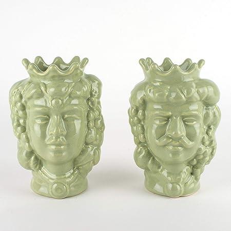Teste di Moro siciliane H cm 14 in Ceramica, bomboniere Teste di Moro di Caltagirone
