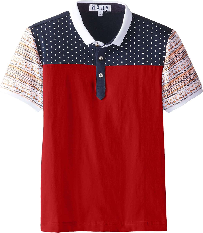 AXNY a.x.n.y Boys' Short Sleeve Polo Shirt Mini-Polka