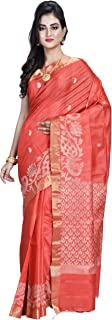 SareesofBengal Women's Handloom Weaved Murshidabad Desi Tussar Saree with Blouse Piece (K060, Red, Free Size)