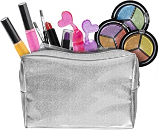 Kids Makeup Set for Girls with Glitter Cosmetics Bag - Real Washable Girls Makeup Kit - 2 Nail Polish 2 Lipstick 2 Lipgloss 3 Eyeshadow Cosmetic Mirror - All-in-one Kid Girl Makeup Toys Kits NON TOXIC