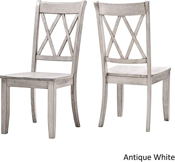 Inspire Q Eleanor Double X Back Wood Dining Chair Set Of 2 By Classic Antique White