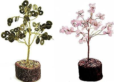 eshoppee vastu feng Shui Money Coin Wealth Tree with Rose Quartz Stone Gemstone Tree(Coin Tree- Rose Quartz)