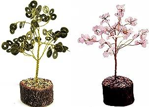 Eshoppee Vastu Feng Shui Money Coin Wealth Tree with Rose Quartz Gemstone Tree (Multicolor)