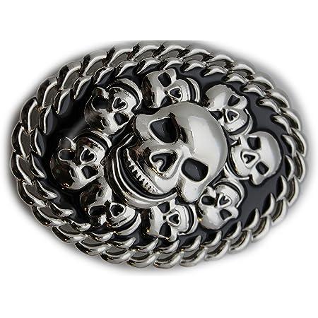 New Men Silver Metal Fashion Biker Buckle Skeleton Brown Mini Skulls Gothic Punk