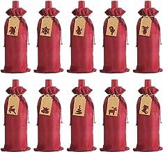Jute Wine Gift Bags, 12 stuks Jute wijnfles zakken met koord, herbruikbare fles wijn Covers met String en Tag zcaqtajro