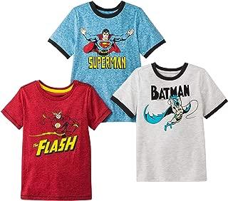 Superheroes Boys 3 Pack Short Sleeve T Shirt Featuring Superman, Batman and The Flash
