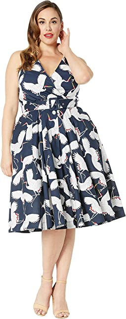 a7389f7772c Unique Vintage. Plus Size Kamehameha Sarong Dress.  142.00. Navy White