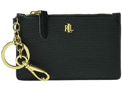 LAUREN Ralph Lauren Lizard Embossed Zip Card Case Medium (Racing Green) Handbags