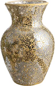 "Whole Housewares 10.5"" Tall Mosaic Glass Vase (Gold)"