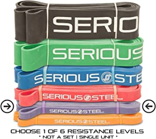 Serious Steel Assisted Pull-Up Band, Resistance & Stretch Band | Powerlifting Band | Pull-up and Band Starter e-Guide Included (Single Unit) 41-inch