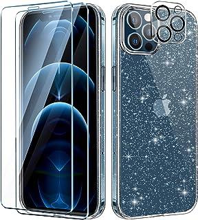AROYI Telefoonhoes compatibel met iPhone 12 Pro Max hoes met 2 stuks pantserglas en camera pantserglas transparante glitte...