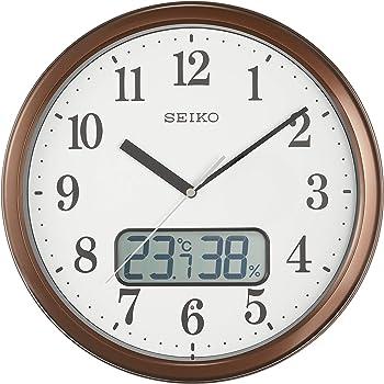 セイコークロック 掛け時計 04:茶メタリック 02:直径31cm 電波 アナログ 温度 湿度 表示 KX244B