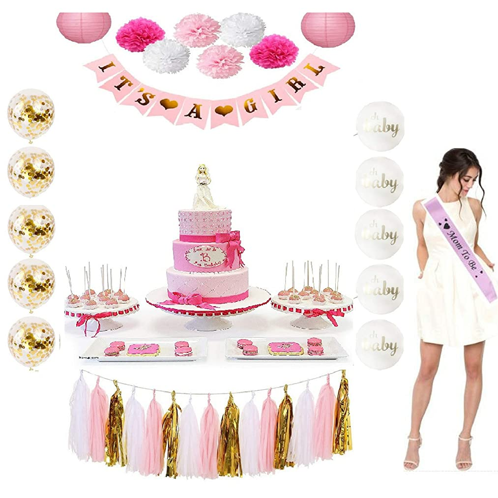 Girl Baby Shower its a Girl Party Decoration Set (46) and Free Games, Gifts (ITS A Girl) babyshower Decor Bunting Banner Tissue Paper Flower Pom Poms Paper Lanterns Paper