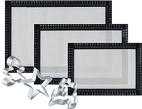 Paquete de 3 Tamaños Tapete de silicona para hornear, Facil Reutilizable Juego de alfombrillas para bandeja antiadherente, resistente al calor, sin BPA, certificado FDA y LFGB